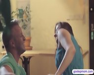 Teen Busted Her Hot Stepmom Giving Her Man A Sneaky Blowjob - scene 1