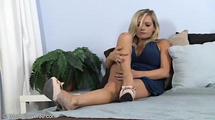 Busty Blonde Stimulates Vagina