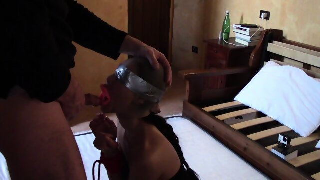 Laura On Heels model 2021 bound and hooded on her knees and throated