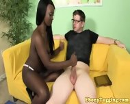 Barelylegal Tugging Ebony With Nice Piercings