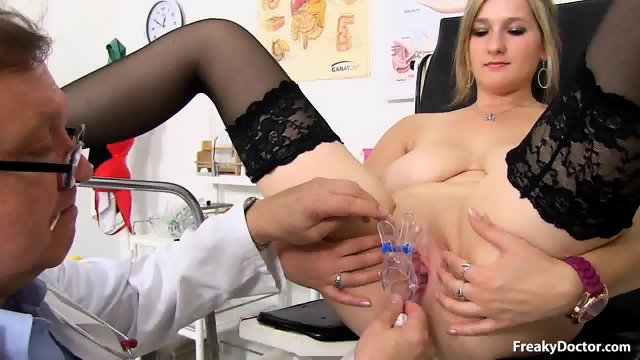 Blonde With Stockings Gets Pussy Exam