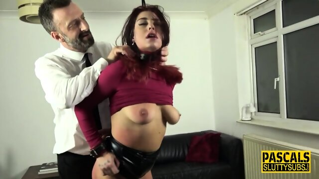 Bound submissive fucked roughly and throated