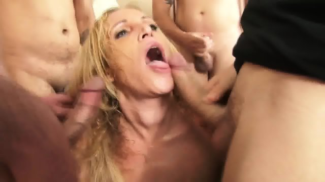 Slut Surrounded By Dicks
