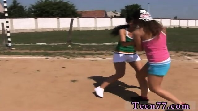 Brunette school and college teen trades Sporty teens gobbling each