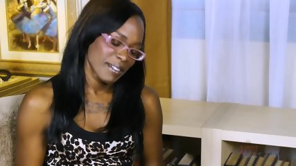 Ebony Girl With Glasses In Solo Action - scene 1