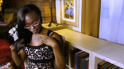 Ebony Girl With Glasses In Solo Action - scene 4