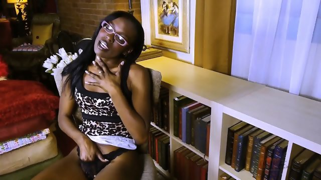 Ebony Girl With Glasses In Solo Action