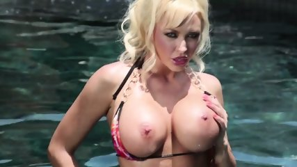Busty Blonde Takes Off Bikini And Rides Cock - scene 1