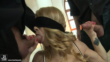 Blindfolded Beauty Takes Two Dicks - scene 3