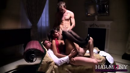 Naughty Young Babe Serves Two Elegant Guys - scene 10