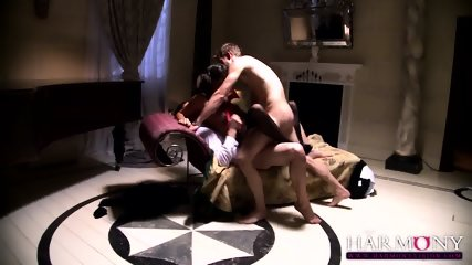 Naughty Young Babe Serves Two Elegant Guys - scene 11