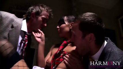 Naughty Young Babe Serves Two Elegant Guys - scene 3