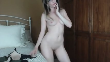Naked Teen In Glasses Blowing Lucky Dildo - scene 5