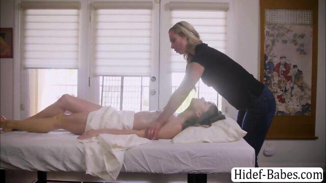Beautiful brunette enjoys having sex with the hot masseuse