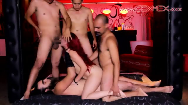 Redhead Slut Gets Gang Banged