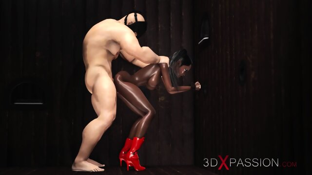 A hot sexy black girl gets fucked hard in glory hole room