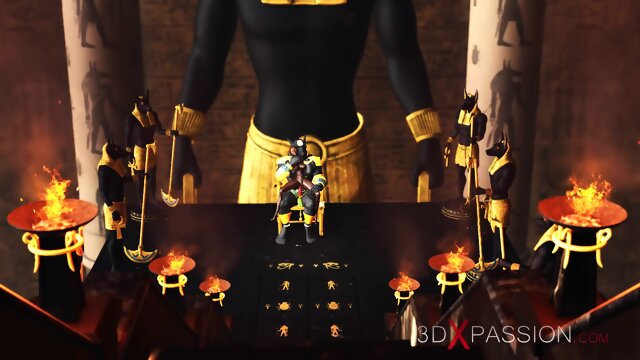 Ancient Egypt  Anubis plays with a hot black girl in the temple