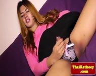 Curvy Busty Thailand Ladyboy Masturbates