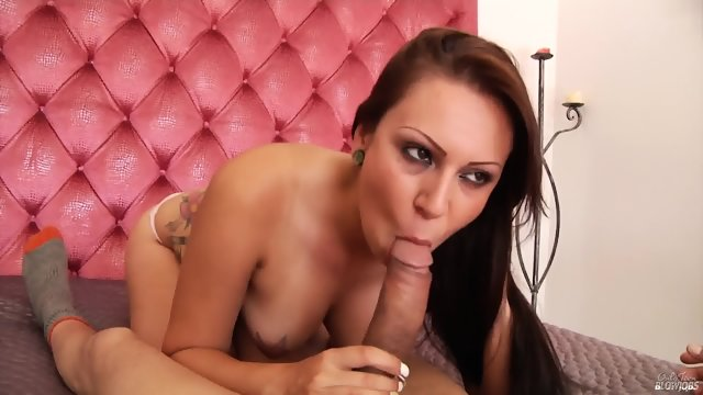 Inked Teen Gives Head