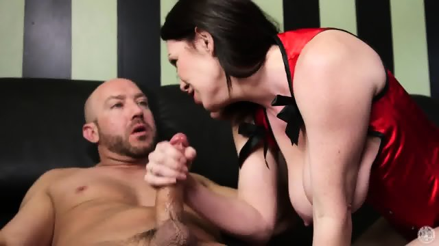 Busty Mommy Sucks Bartender's Cock