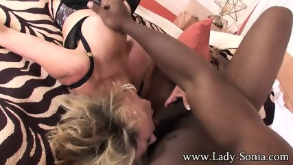 Mature Blonde Serves Big Black Pole - scene 3