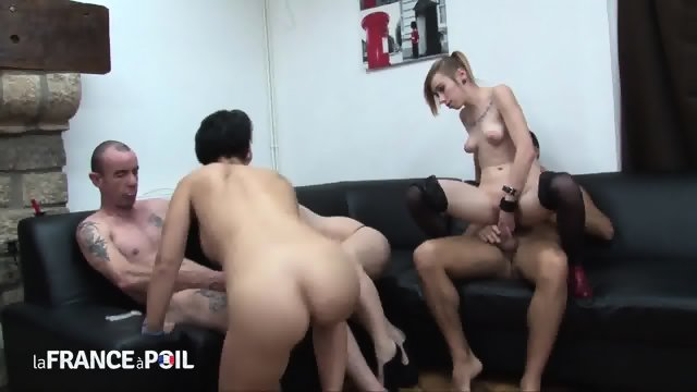 Nice Group Sex On Leather Sofa