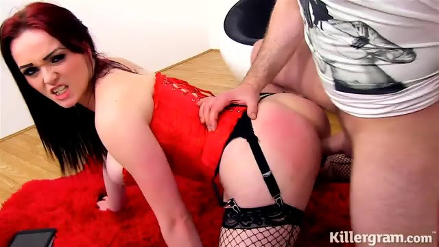 Brutal Action With Redhead Slut With Fishnets
