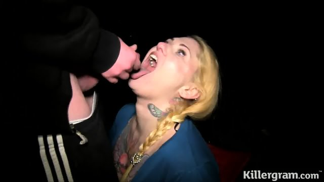 Blonde Slut Eats Cum