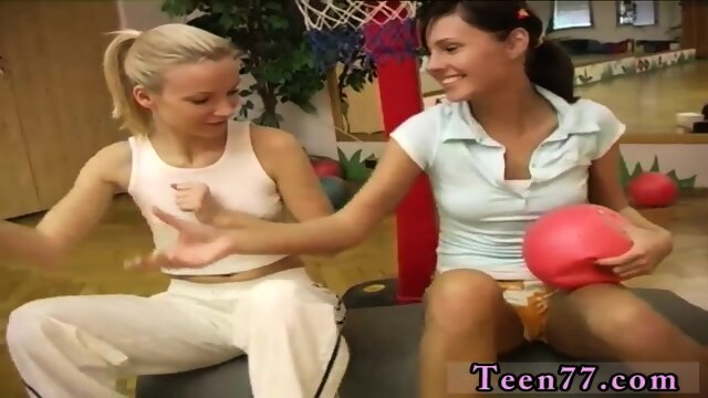 Sexy teen tied up Cindy and Amber boning each other in the gym