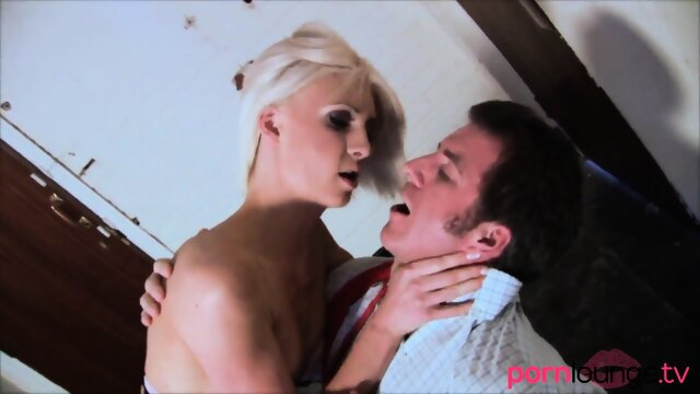 Petite blonde fingered while bound