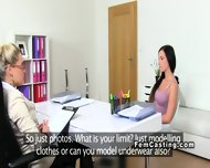 Female Agent With Strap On Dildo Blonde