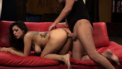 Slut Fucked Hard On Red Sofa