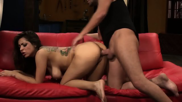Slut Fucked Hard On Red Sofa