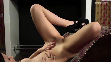 Glam Brunette Rubs Shaved Pussy - scene 9