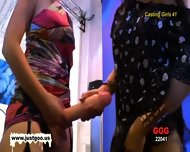 Casting Girl Anna Gets Tested By Viktoria S Large Strap-on!