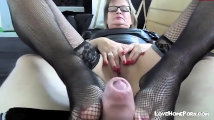 Mature German Fucks And Gives Footjob In Nylons