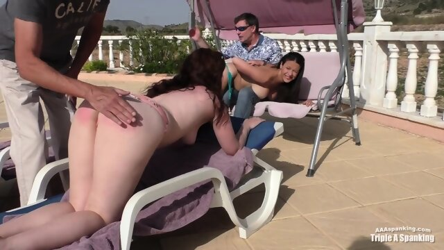 Zoe and Sarah spanked under the sun