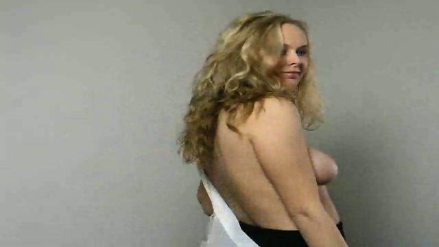 Blond maid stripping