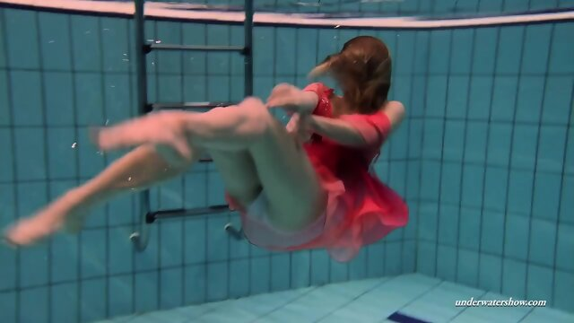 Firm big tits and red dress underwater on Duna Bultihalo
