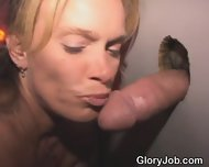 Very Pretty Blonde Amateur Sucking Dick Through Hole In Wall - scene 8