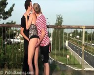 Public Gangbang Orgy With A Pretty Milf Woman On A Freeway Overpass