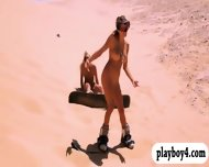Sexy Huge Boobies Badass Girls Sand Boarding While Naked