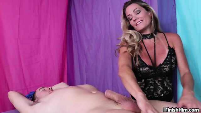 Lingerie milf masseuse wanking bound bf during kinky session