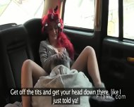 British Redhead Deep Throats In Fake Taxi