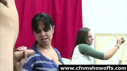 Classy Cfnm Amateur In Art Class Giving Naked Guy A