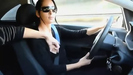 Stunning Lady Strokes Cock While Driving - scene 2