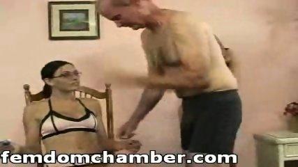 Two women spanking a man - scene 1