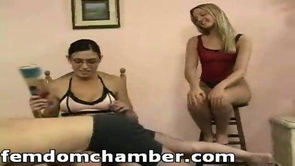 Two women spanking a man - scene 2