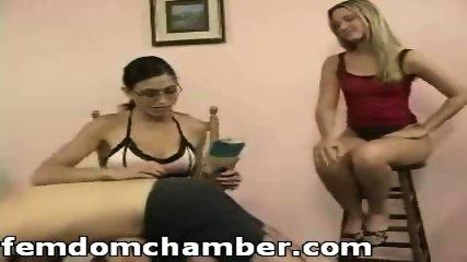 Two women spanking a man - scene 3