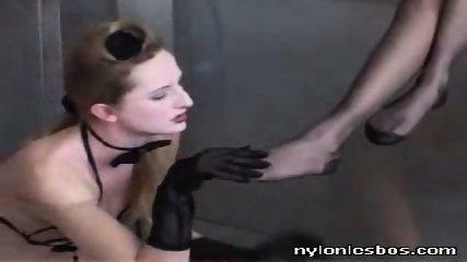 Three lesbians in stockings get their feet licked by slavegirl - scene 1